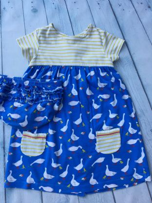 Mini Boden hotchpotch goose dress with matching nappy cover age 2-3 (small repair)